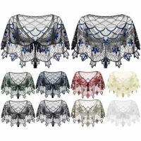 Womens Short Sleeves Crop Top Shrug Sequins Beaded Wedding Evening Party Bolero