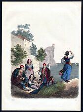 1863 Dalmatien Dalmatia Tracht Trachten costumes Lithographie lithograph