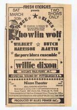ORIGINAL Vintage 1974 Howlin Wolf / Willie Dixon Pittsburgh Newspaper Ad