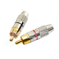 New Lot of 10 pcs Red / Gold Solder RCA Male Plug Audio Video Connector Adapter