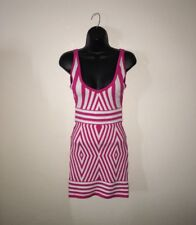 WOW CULTURE WOMENS SZ S Small PINK WHITE Striped STRETCH DRESS Cute