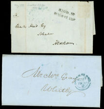 1844, 50, (2) Great Britain Stampless, High. St Sunderland Cds & Straightline!