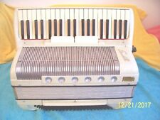 "Scandalli 120 bass Accordion Creme pearl color accordian Good Cond. 17"" keyboard"