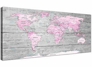 Large Pink Grey Map of World Atlas Canvas Wall Art Print � 120cm Wide - 1302