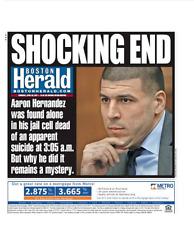 Aaron Hernandez Ex Patriots Suicide Boston Herald Shocking End 4-20-17
