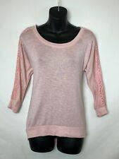 Self Esteem Womens Scoop Neck Pink Heather Shirt w 3/4 Lace Detail Sleeves! Sz S