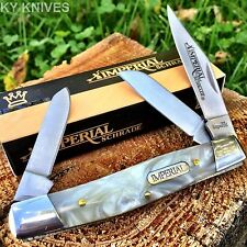 "Imperial SCHRADE Cracked Ice Pearl 4"" STOCKMAN Pocket Knife New! IMP14L"