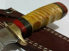 VINTAGE YELLOW BONE HUNTING BOWIE KNIFE W/ SHEATH CASE FIXED BLADE !