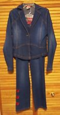 APPLE BOTTOMS WOMEN'S JACKET & JEANS XL EMBROIDERED LOGO & LETTERS