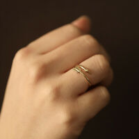 Arrow Twist Ring Band 10K 14K Solid Gold Unique Twist Wrap Stacking Ring