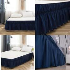 Ayasw Bed Skirt 17-18 Inch Drop Pompom Fringe Dust Ruffle Three Fabric Sides Wra