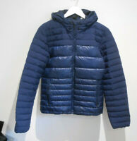 Adidas navy blue quilted padded down feather hooded jacket Size small VGC