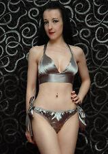 Tie Side Satin knicker/panty & Bra Set Silver Burlesque