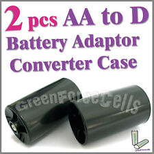 2 X battery Adaptor Converter Case AA 2A to D size type LR20 Black
