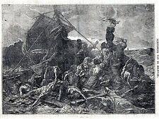 Antique print: Raft Medusa ship / Le Radeau de la Méduse 1835 meduse wrecked