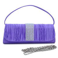 New Women Pleated Evening Clutch Crossbody Day Bag Handbag Purse w/ Rhinestone