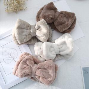 Girl Coral Fleece Big Bow Towel Hair Band Wrap Bath Spa Elastic Make Up Headband