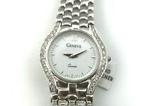 .50CT DIAMOND 14KTW SOLID GOLD WHITE FACE GENEVE WOMANS WATCH Swiss Quartz
