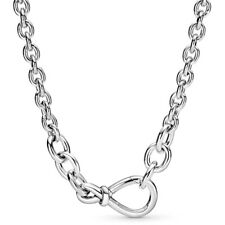 Chunky Infinity Knot Chain Knotted Necklace Silver Bead Charm Necklace