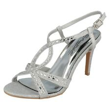 Ladies Silver Peep Toe Anne Michelle Heeled Party/Occasion Sandal : F1R0834
