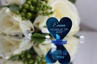 Personalised Blue Wedding Place Mirror Acrylic Hearts/Bride,Groom,Groomsman