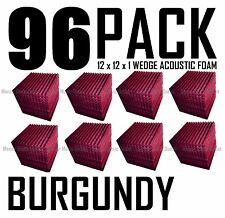 96 BURGUNDY Acoustic Wedge recording Studio Soundproofing Foam Wall Tile 12x12x1