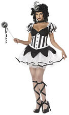 Jester Sexy Blk /Wht Burlesque Style 5 Pc Kings Delight Mardi Gras Costume SM