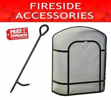 Curved Black Fireguard Firescreen Spark Safety and Fireside Poker Fire Tools