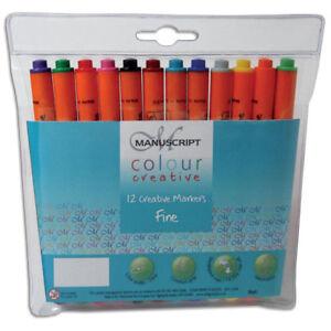 Manuscript Calligraphy Colour Fine Markers Wallet 12 Ass