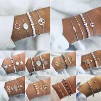 Vintage Boho Map Women Jewelry Set Natural Stone Crystal Beads Chain Bracelets