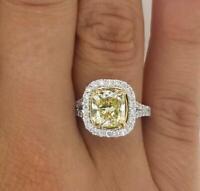 2.75 Carat Round Cut Diamond Engagement Ring Fancy Yellow White Gold 18k 6239
