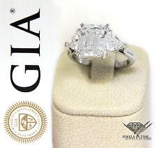 4.18 Carat Emerald Cut Diamond Platinum Ring GIA BRAND NEW