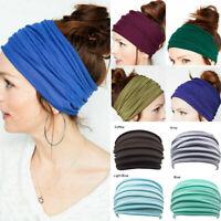 Elastic Stretch Wide Headband Hairband Yoga Running Turban Womens Soft Head Wrap
