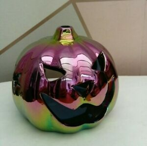 Halloween Iridescent Pumpkin Tealight Holder 12cm Candle Holder Party Decor NEW