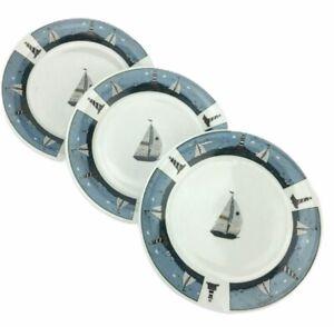 3 Oneida Casual Settings Sailboat Salad Plates Warren Kimble Stoneware 7 1/4