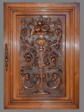 Antique French Architectural Carved Solid Wood Cupboard Door Wall Panel Basket