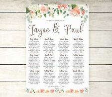 A2 Peach floral Wedding table Plan / seating plan (A3 also available)
