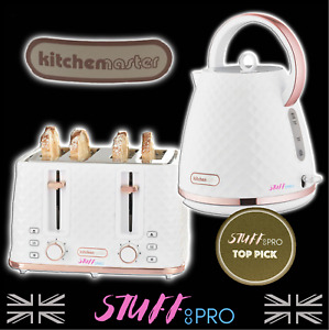 🌈Diamond Finish White & Rose Gold Individual Kettle Or Toaster Or Set Of Two