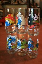 6 Vtg Smurfs Drinking Glasses Gargamel/Azrael/Smurfette, etc - Peyo 1982 Set/Lot