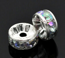 100 Silver Plated Acrylic Clear AB Color Rhinestone Rondelle Spacers Beads 8mm