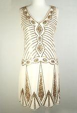 SIZE 6-16 AUS GREAT GATSBY 1920s BEIGE GOLD SEQUIN DECO CHARLESTON FLAPPER DRESS