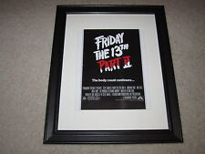 """Framed Friday the 13th Part II Mini Poster, Jason Vorhees 14""""x17"""", 1981 USA"""