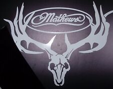 "Mathews deer skull all white die cut 10"" wide 9"" tall"