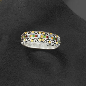 Fashion 925 Silver Multi-Color Sapphire Gems Ring Women Bridal Jewelry Size 6-10