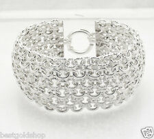 "8"" Sparkly Diamond Cut Wide Domed Bracelet Real 925 Sterling Silver 40.1 grams"