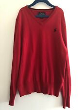 POLO RALPH LAUREN V Neck Jumper Sweater Pima Cotton RED boys size M 10-12 years