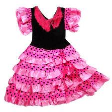 b8a913b94 Vestido de Flamenca Sevillana para Niña Color Rosa y Negro 2-12 años