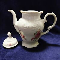 Vintage Wawel Rose Peony China Floral Gold Trimmed Coffee Pot Made in Poland