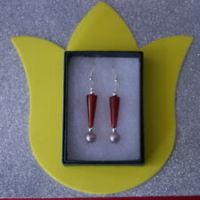 BEAUTIFUL EARRINGS WITH CARNELIAN & FRESHWATER PEARLS 5.6 GR. 4.3 CM. LONG + HOO