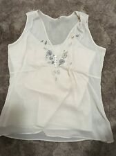 """Pre-loved Gorgeous ''Something for Bec"""" Champagne sleeveless Top Size 14"""